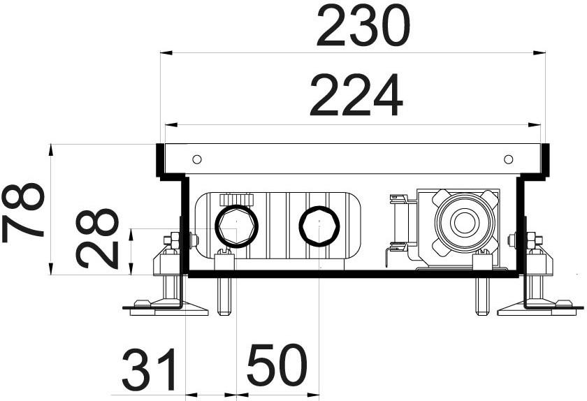Схема внутрипольного конвектора KV 230 78