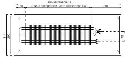 Cхема конвектора Verano VK15 ширина 314