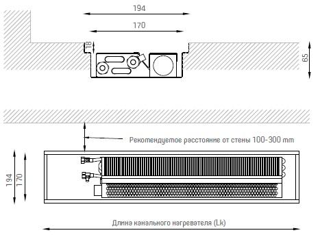 Размеры внутрипольного конвектора Verano VKN 1 194