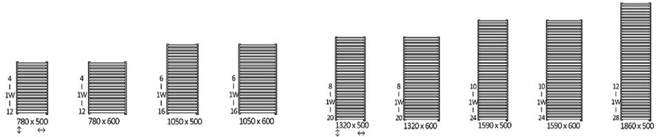 размеры электрического полотенцесушителя Terma City One