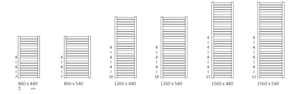 Размеры электрического полотенцесушителя Terma Mantis