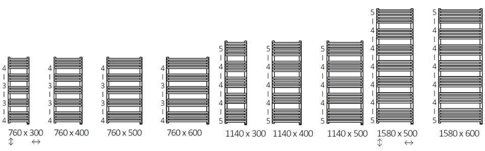 Размеры электрический полотенцесушителя Terma Alex One
