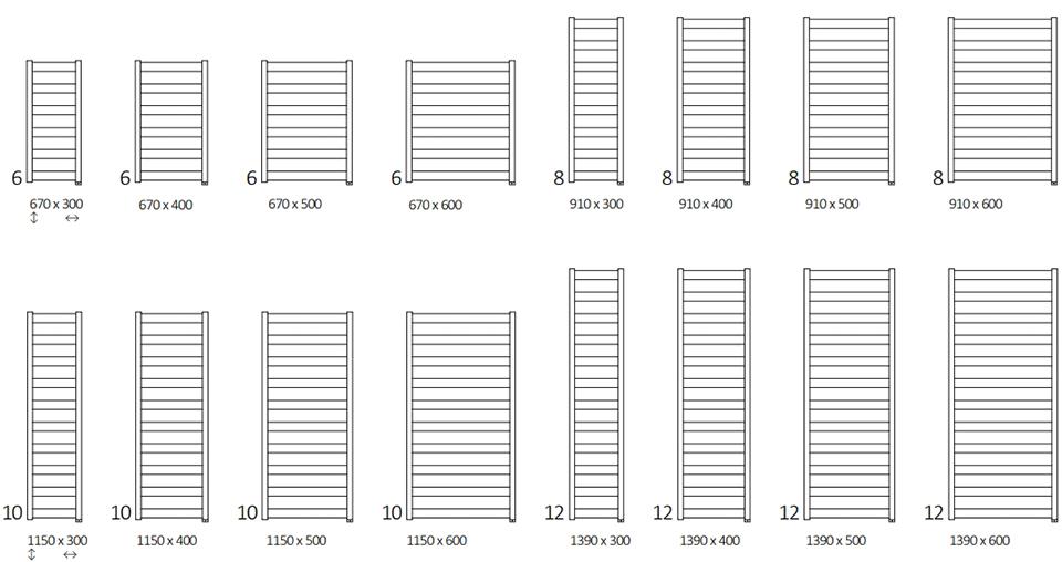 Размеры электрического полотенцесушителя Terma Vivo One