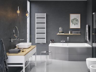 Белый полотенцесушитель для ванной